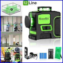 12Lines Self-leveling Vertical Horizontal Cross Laser Level Green Beam + Battery