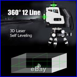 12 Line 360° Rotary Laser 3D Cross Self Leveling Vertical Horizontal Level Green