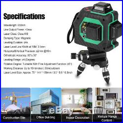 12 Line 3D Green Red Laser Self Leveling 360° Rotary Level Cross Measure +Box