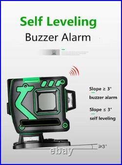 12 Lines 360° 3D Green Laser Level Self Leveling Tool Horizontal&Vertical Cross