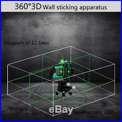 12 Lines 360 Degree Waterproof Self-Leveling Green 3D Laser Level Measure Kit