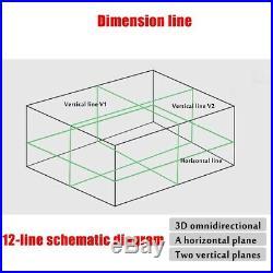 12 Lines GREEN Laser Level 360° Rotary Cross Horizontal Measure SELF LEVELING