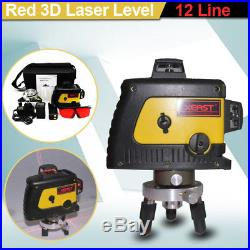 360° 12Line Red 3D Laser Automatic Self Leveling Vertical Horizontal Level Cross