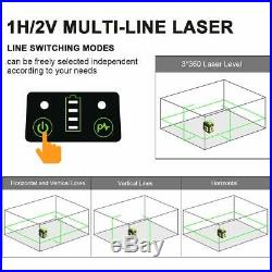 360 Horizontal and Two Vertical Lines Self-Leveling Laser Tool with Type-C Port