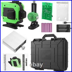 3D 12Line Green Laser Level Auto Self Leveling 360° Rotary Cross Measure&Toolbox
