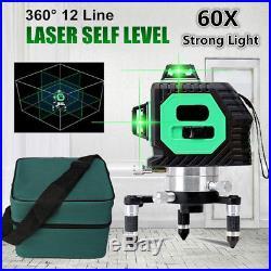 3D 12 Line 360° Laser Auto Self Leveling Vertical Horizontal Level Cross GREEN