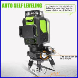 3D 12 Line 360° Rotary Laser Level Self-leveling Vertical Horizontal Cross Green
