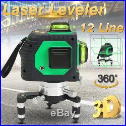 3D 12 Lines Green Laser Level Self Leveling 360 Degree Vertical Horizontal Cross