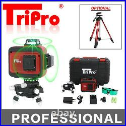 3D 3X 360° 12 Multi Lines Self Auto Leveling Rotary Green Laser Level Tripod