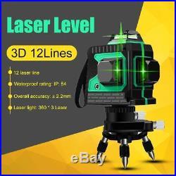 3D Laser Level 12 Line Green Self Leveling 360° Rotary Cross Measure Tool+Tripod