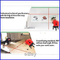 3D Red Laser Level Measure 12 Line Self Leveling Vertical&Horizontal Cross Tool