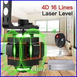 4D 16 Lines 360° Laser Level Self Leveling Green Bean Horizontal Vertical Cross