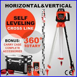 500m Range Self-leveling Laser Level Rotary Rotating Red Beam with Tripod + Staff