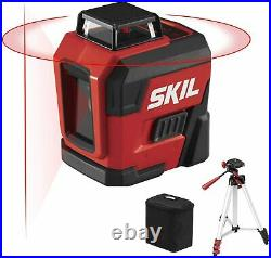 65ft 360° Red Self-Leveling Cross Line Laser Level Tripod & Carry Bag Included