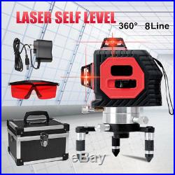 8 Line 360° Rotary Laser Self Leveling Vertical Horizontal Level Red Measure Kit