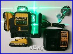 DEWALT DCE089D1G 10.8V GREEN MULTI LINE LASER 2x 2.0 AH Batteries & CHARGER, Only