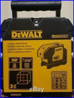 DEWALT DW083K 100-Feet Self-Leveling 3 Beam Laser Pointer New In Box