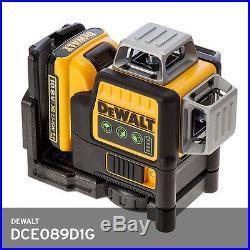 DeWALT DCE089D1G Self Levelling Cross Line Laser 10.8V Green Beam x3 360 1080