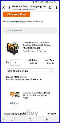 Dewalt DW089LG Self-Leveling 3-Beam Line Green Laser Levelling Leveler lot case
