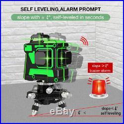 Green Laser Level 3D 12 Cross Line 360° Rotar Self Leveling+Wall Bracket +Tripod