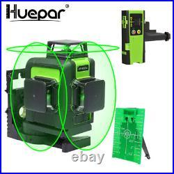 Huepar 12 Line Green Cross Line Laser Level Vertical Horizontal Include Receiver