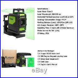 Huepar Green Rotary Laser Level Line Kit 3D 360 line Cross Horizontal Vertical