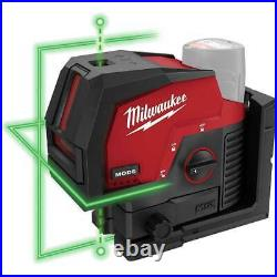 Milwaukee 3622-20 M12 12V Cordless Green Cross Line with Plumb Points Laser Level