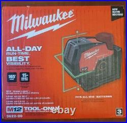 Milwaukee 3622-20 M12 Green Laser Level 125 ft Cross Line Plumb Points 12 Volt