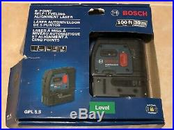 NEW BOSCH 100 ft. 5 Point Self Leveling Plumb and Square Laser GPL 5S