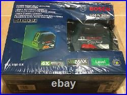 NEW Bosch 100 ft Self Leveling Cross Line Laser with VisiMax Green Beam GLL100GX