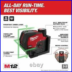 NEW Milwaukee M12 3622-20 Green 125 ft Cross Line and Laser Level (Tool-Only)