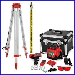 Rotary Laser Level 500m Range Automatic Self-Leveling Red Beam withTripod Staff