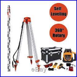 Self-Leveling 500m Range Red Laser Beam Rotary Set With 1.65M Tripod 5M Staff